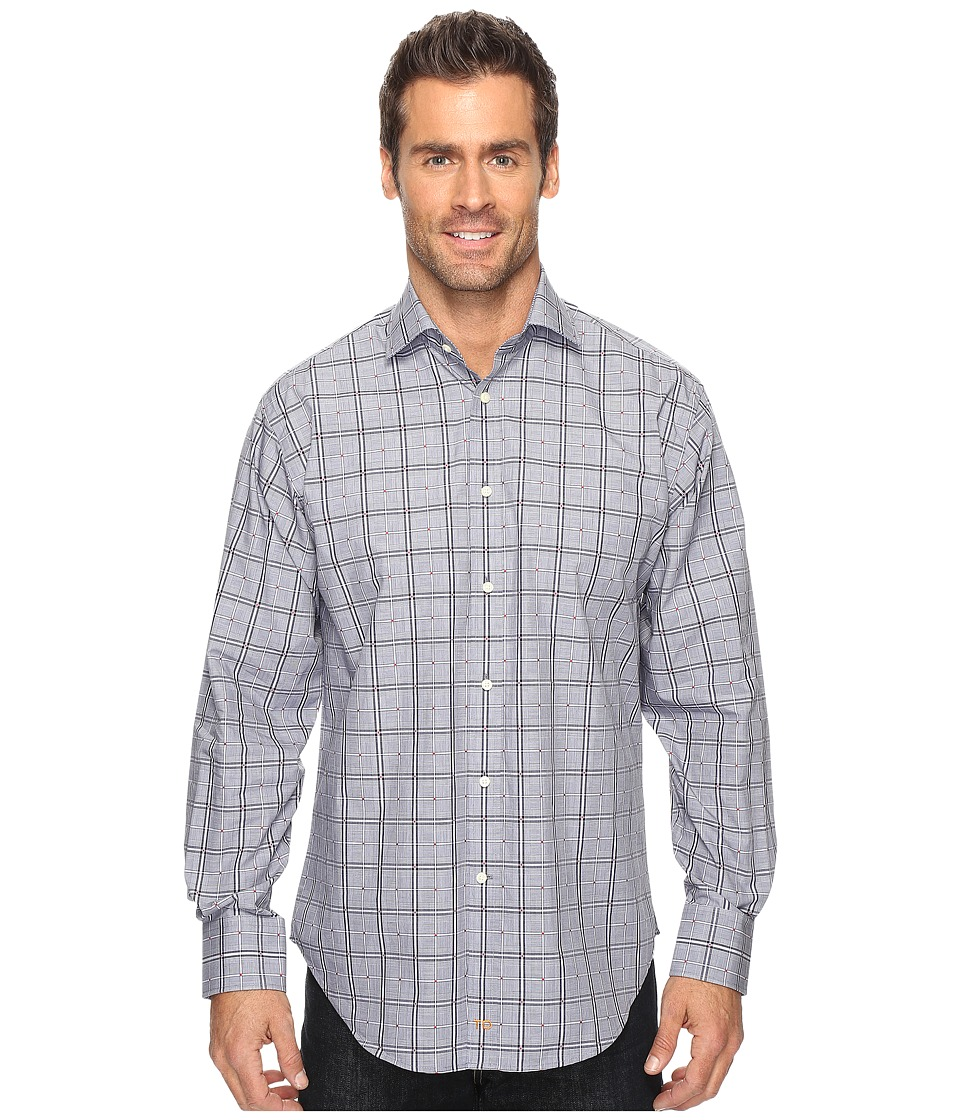 Thomas Dean & Co. - Long Sleeve Glen with Fil Coupe Sport Shirt (Navy) Men's Clothing
