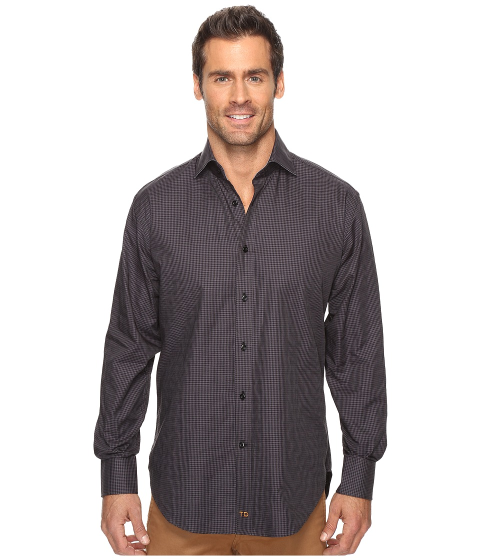 Thomas Dean & Co. - Long Sleeve Mini Check Sport Shirt (Charcoal) Men's Clothing