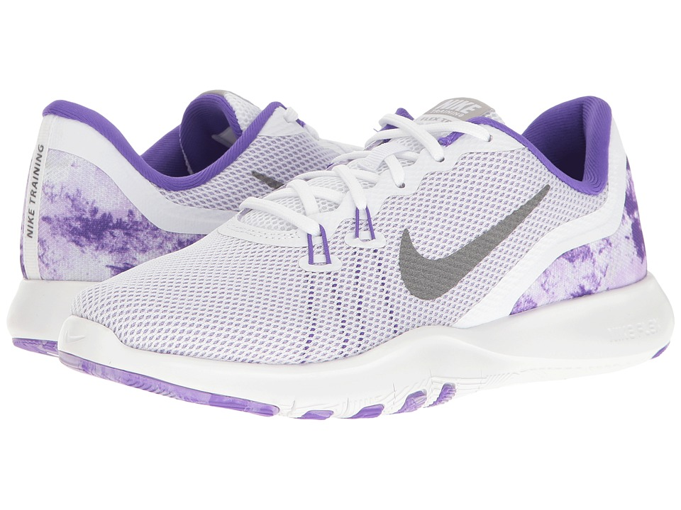 Nike - Flex Trainer 7 Print (White/Metallic Dark Grey/Hydrangeas) Women's Cross Training Shoes