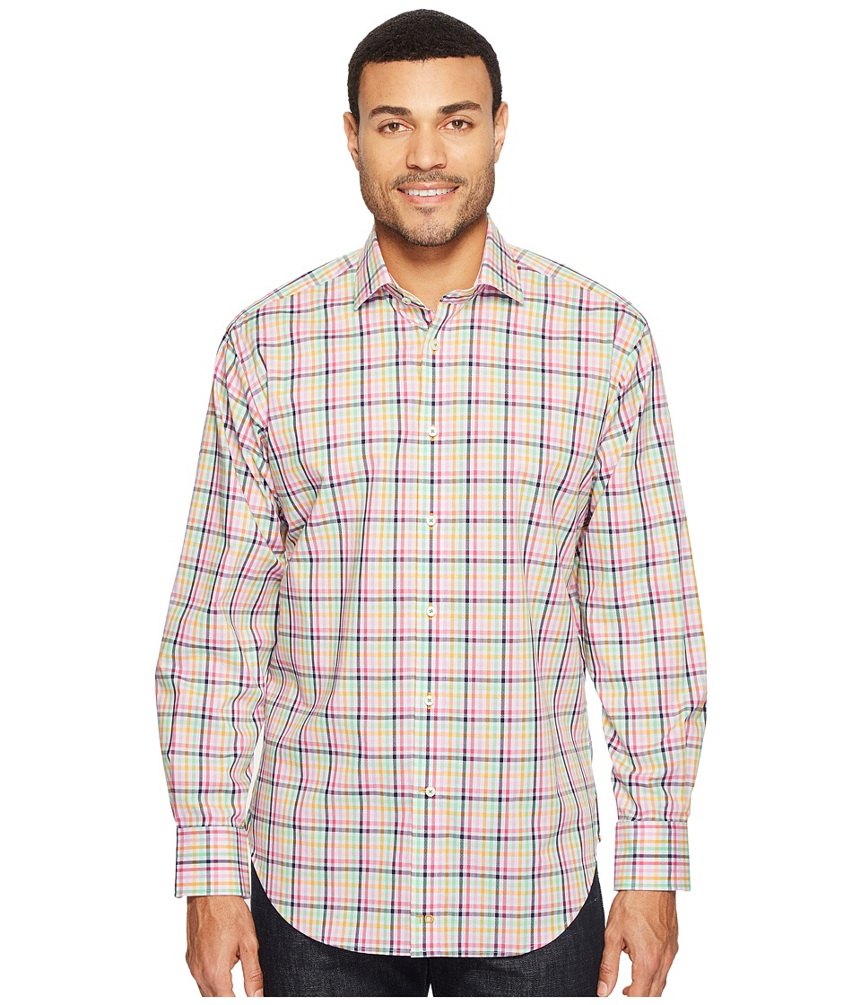 Thomas Dean & Co. - Long Sleeve Plaid Sport Shirt (Pink) Men's Clothing