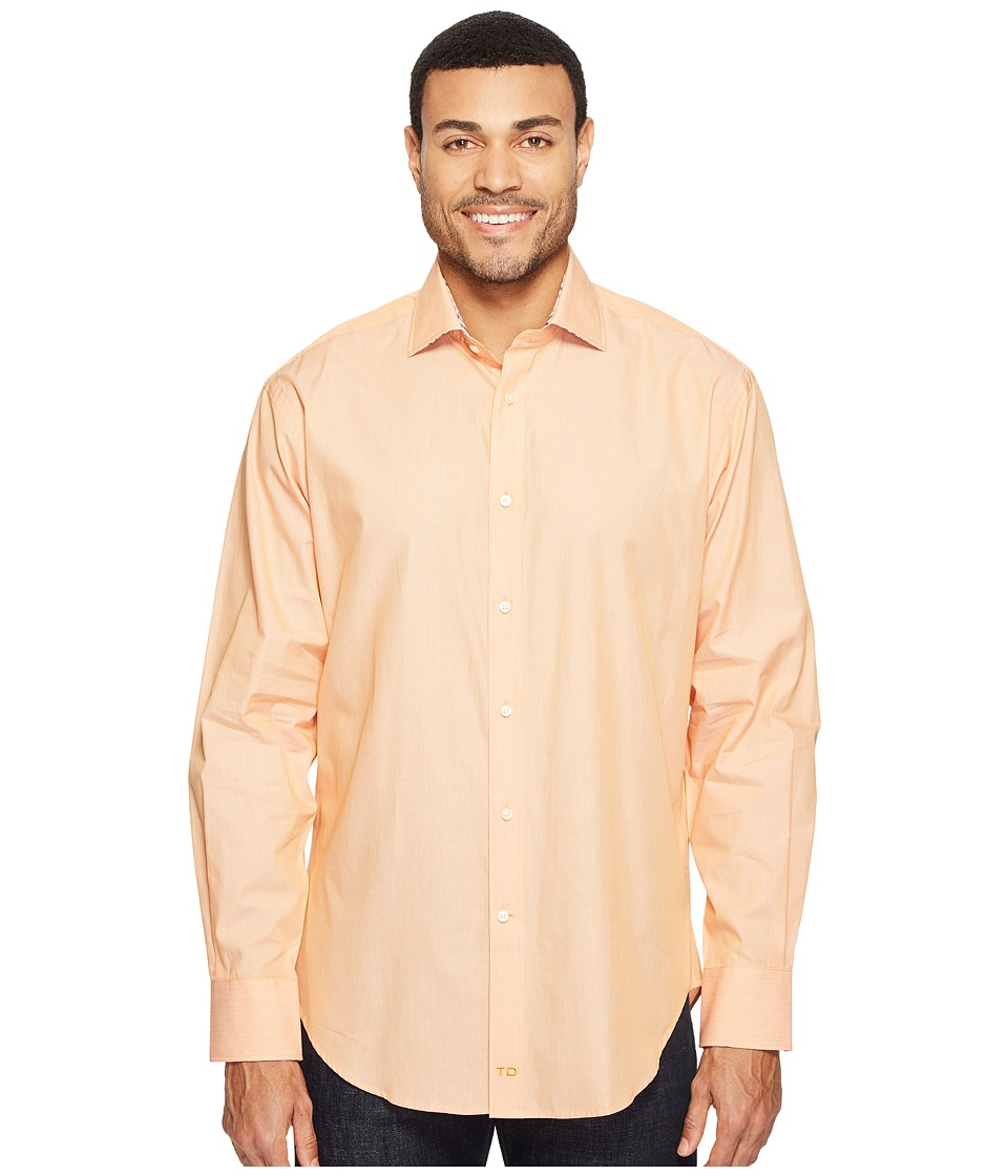 Thomas Dean & Co. - Long Sleeve Mini Stripe Sport Shirt (Orange) Men's Clothing