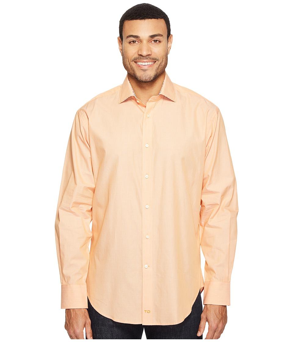 Thomas Dean & Co. - Long Sleeve Mini Stripe Sport Shirt (Orange) Men's Clothing