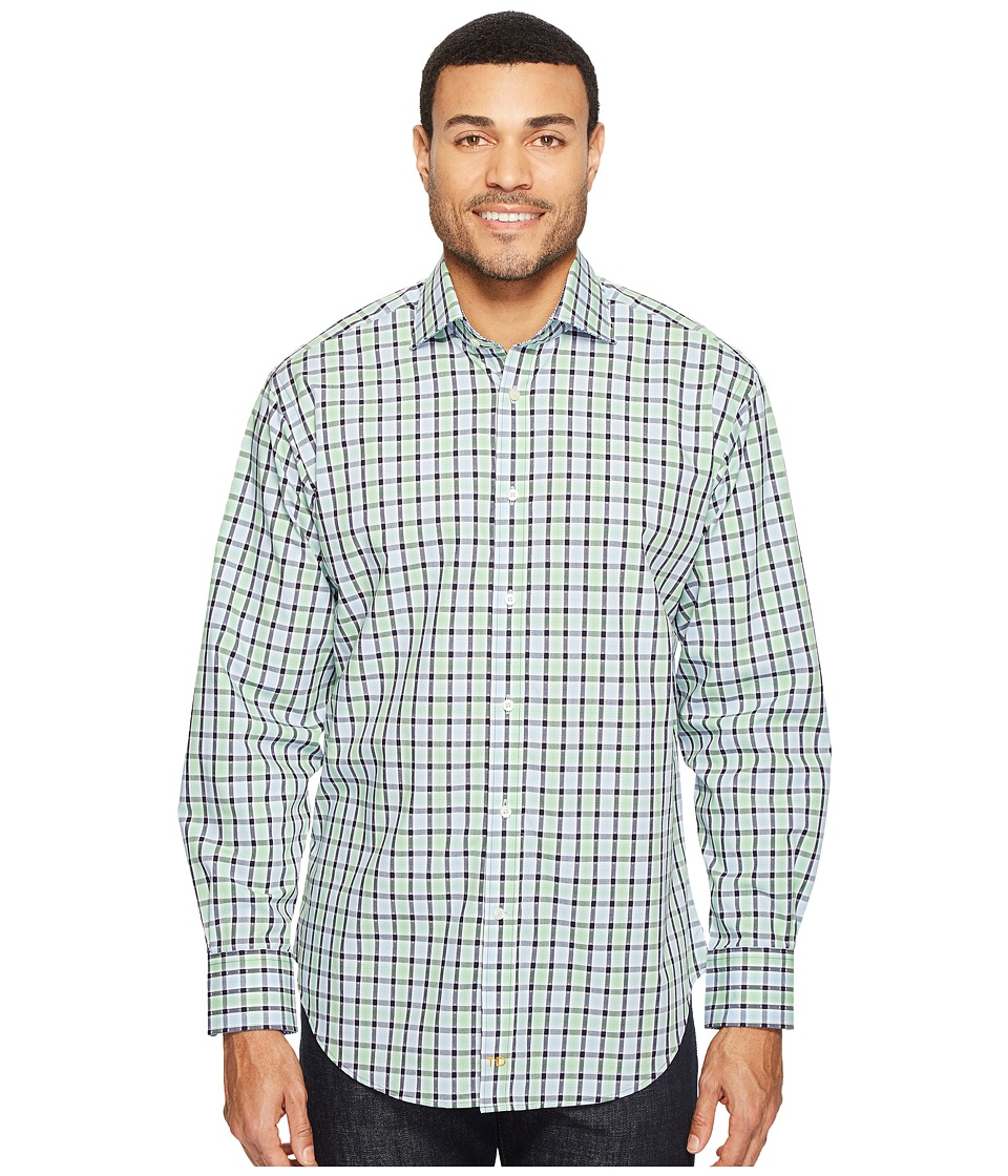 Thomas Dean & Co. - Long Sleeve Check Sport Shirt (Green) Men's Clothing