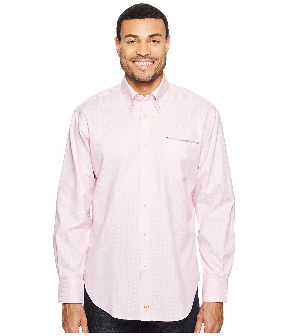 Thomas Dean & Co. - Long Sleeve Geometric Jacquard Sport Shirt (Pink) Men's Clothing