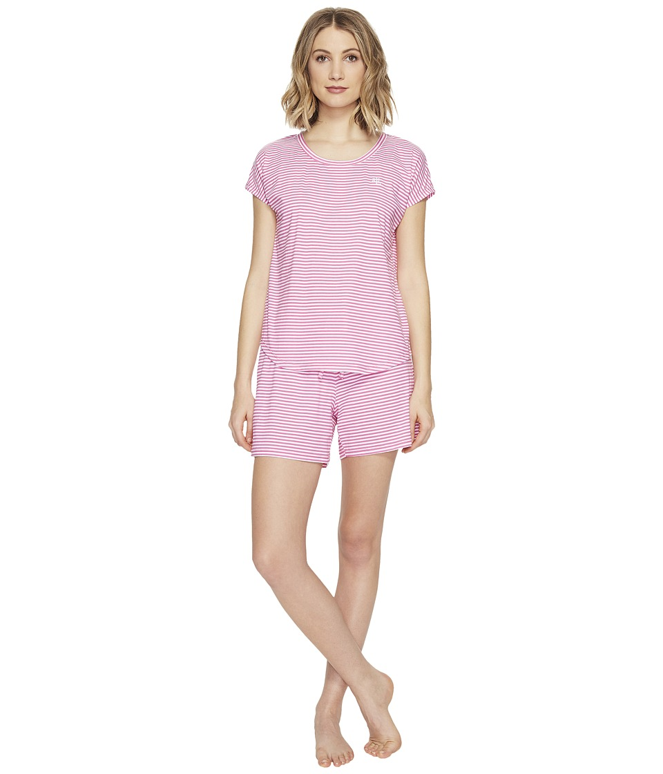 LAUREN Ralph Lauren - Short Sleeve Boxer PJ Set (Pink Stripe) Women's Pajama Sets