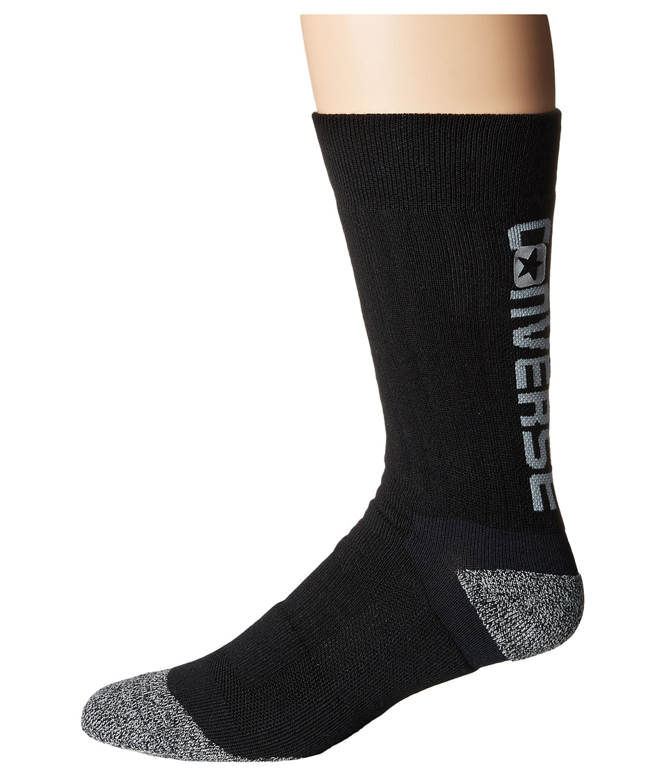 Converse - Ultra Performance Crew Socks 1-Pack (Black) Men's No Show Socks Shoes