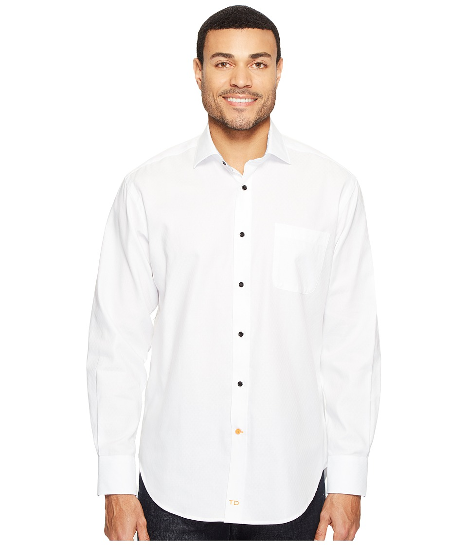 Thomas Dean & Co. - Long Sleeve Textured Solid Sport Shirt (White) Men's Clothing