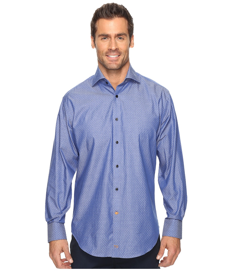 Thomas Dean & Co. - Long Sleeve Dot Sport Shirt French Cuff (Navy) Men's Clothing