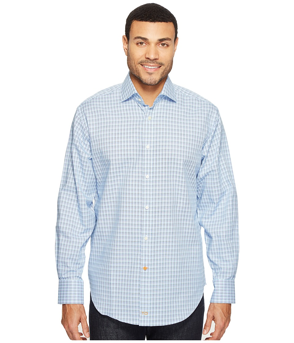 Thomas Dean & Co. - Long Sleeve Check Sport Shirt (Blue) Men's Clothing