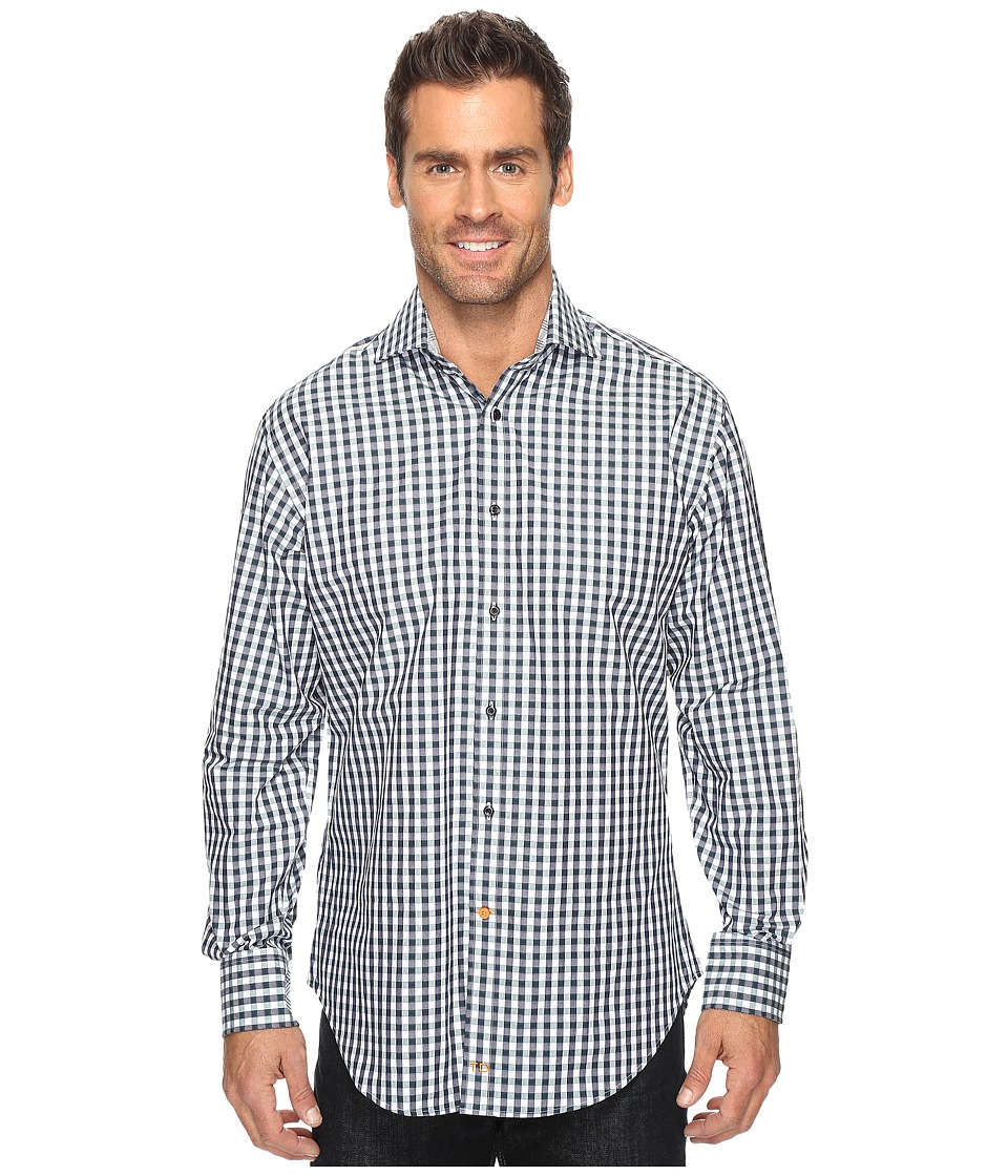 Thomas Dean & Co. - Long Sleeve Textured Check Sport Shirt (Pine) Men's Clothing