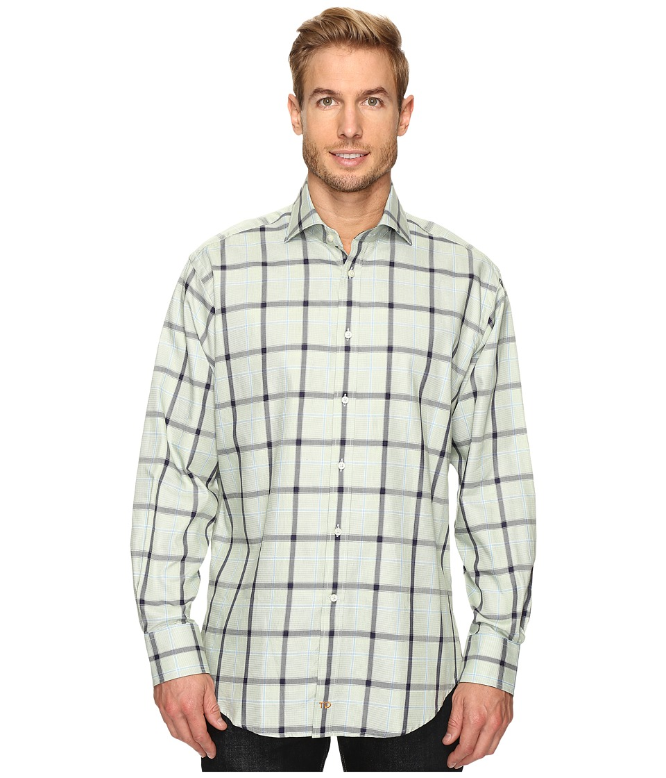 Thomas Dean & Co. - Long Sleeve Big Check Sport Shirt (Green) Men's Clothing