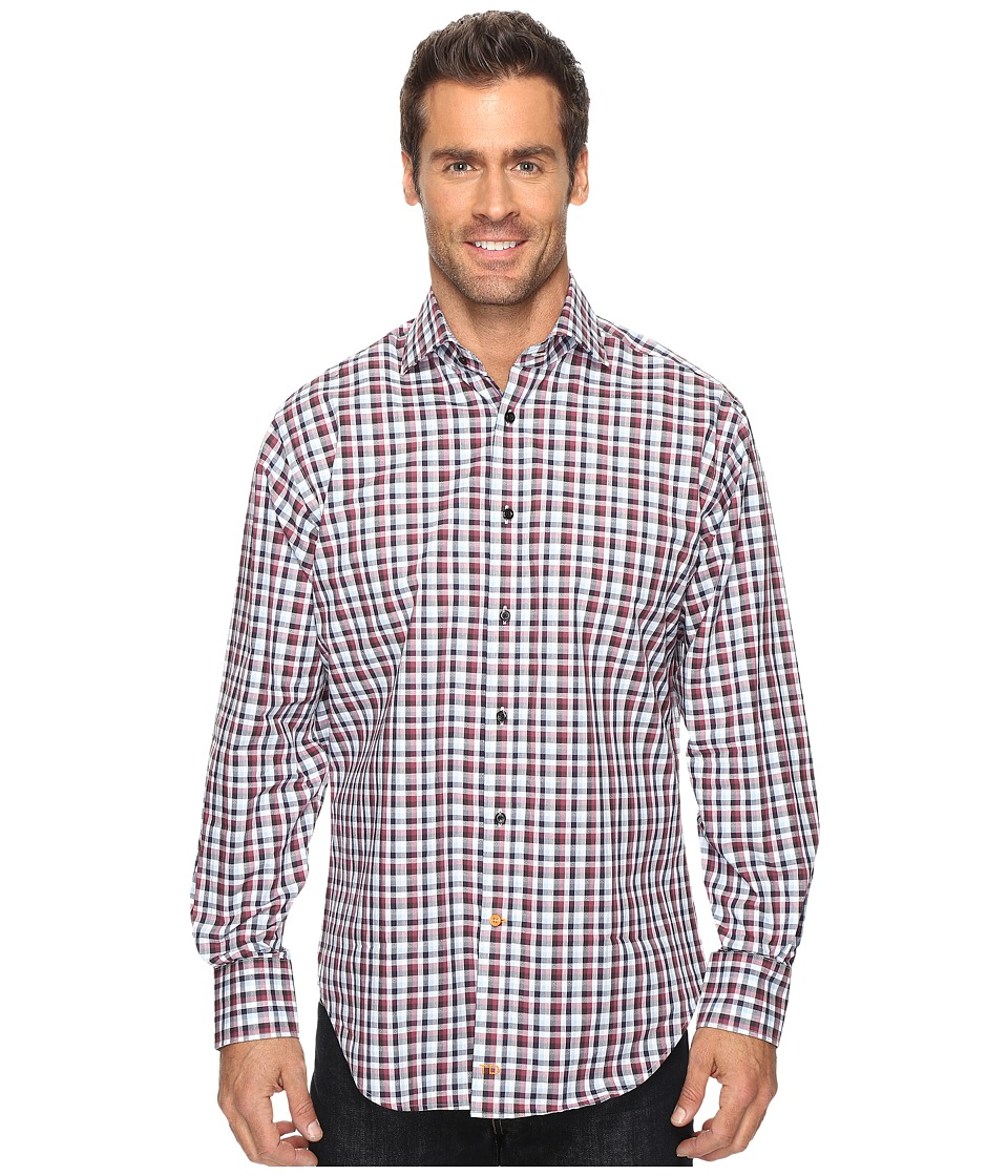 Thomas Dean & Co. - Long Sleeve Plaid Jacquard Sport Shirt (Berry) Men's Clothing