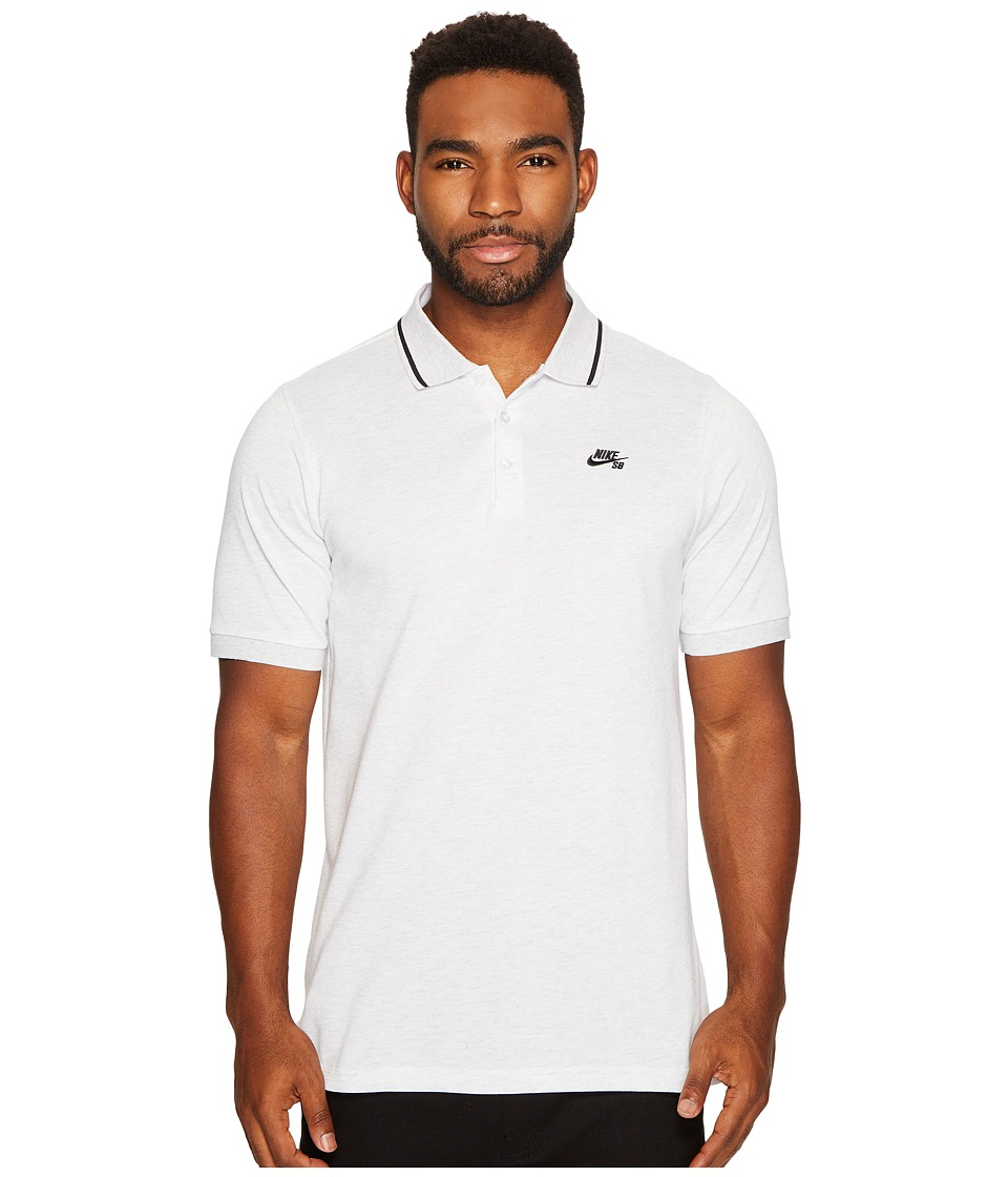 Nike SB - SB Dry Polo Pique Tip Short Sleeve (Birch Heather/Black) Men's Short Sleeve Pullover