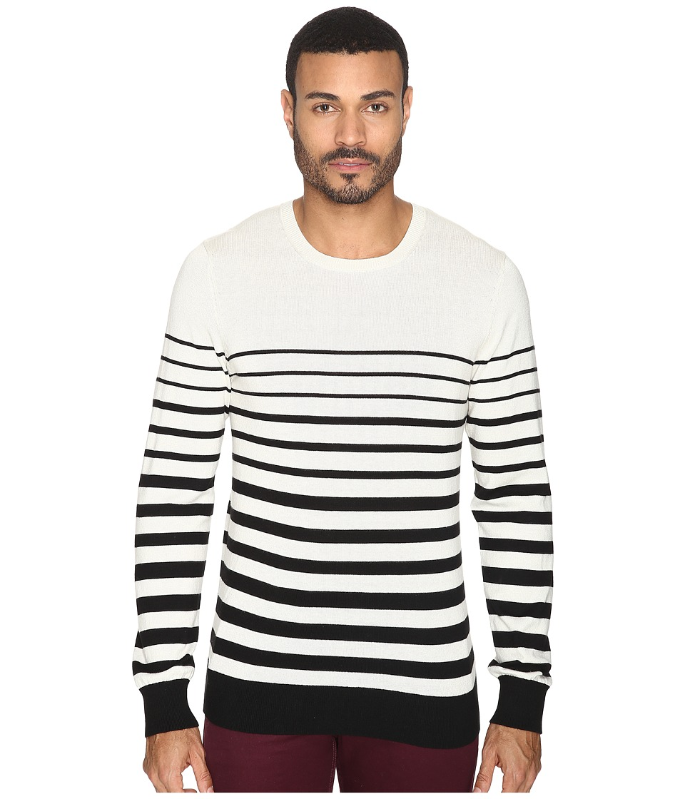 AG Adriano Goldschmied Tanner Crew Neck Sweater (Trench Stripe City Fog Black) Men