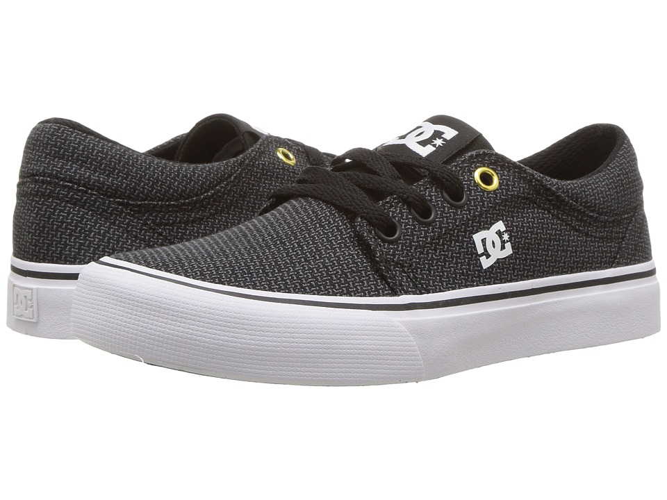 DC Kids - Trase TX SE (Little Kid/Big Kid) (Black/Grey/White) Boys Shoes