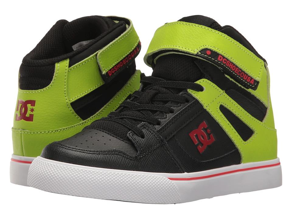 DC Kids - Spartan High SE EV Glow (Little Kid/Big Kid) (Black/Green) Boy's Shoes