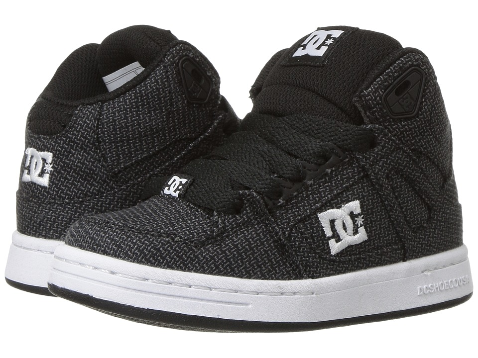 DC Kids - Rebound TX SE (Little Kid/Big Kid) (Black/Grey/White) Boys Shoes