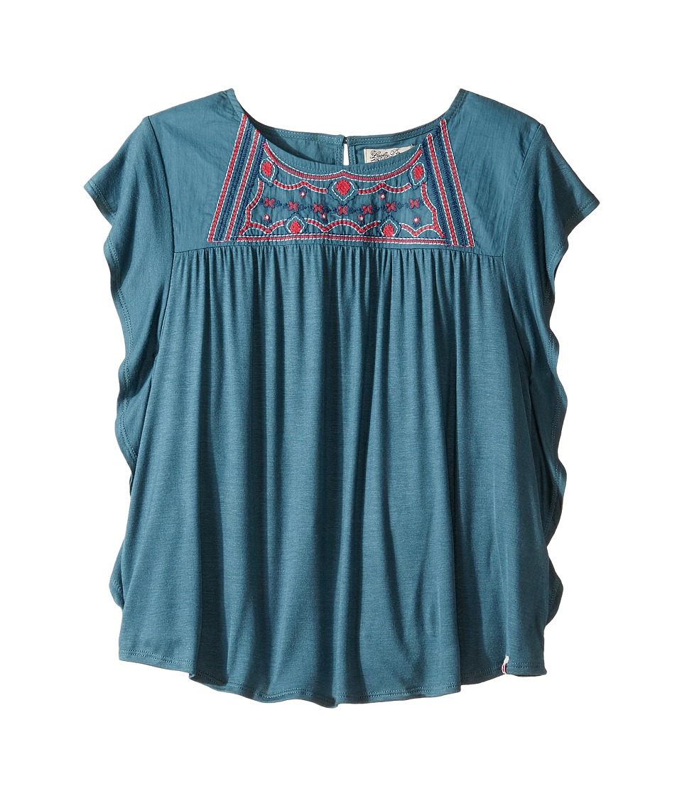Lucky Brand Kids - Woven Knit Shirt w/ Embroidery and Ruffle Cap Sleeve (Big Kids) (Petrol Blue) Girl's Clothing