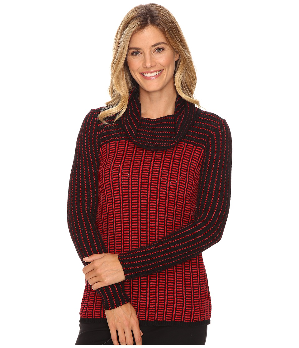 Calvin Klein - Grid-Striped Cowl Neck Sweater (Rouge/Black) Women's Sweater