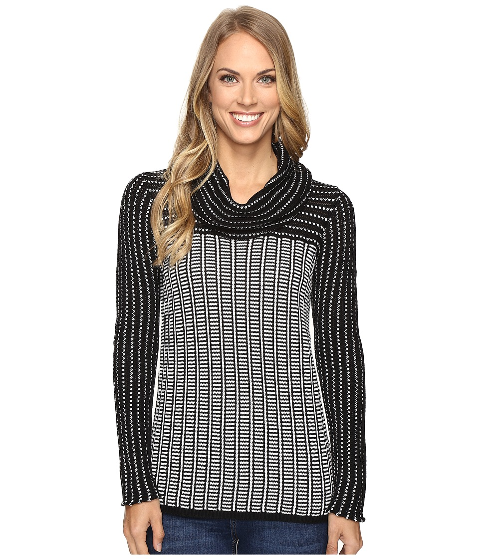 Calvin Klein - Grid-Striped Cowl Neck Sweater (Black/White) Women's Sweater