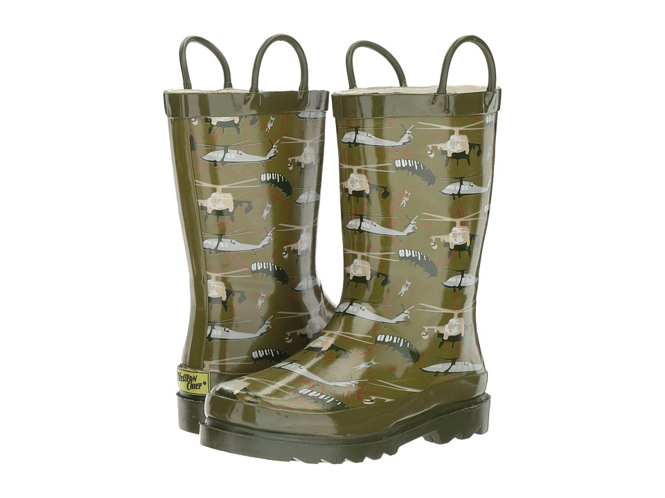 Western Chief Kids - Blackhawk Rain Boot (Toddler/Little Kid) (Olive) Boys Shoes