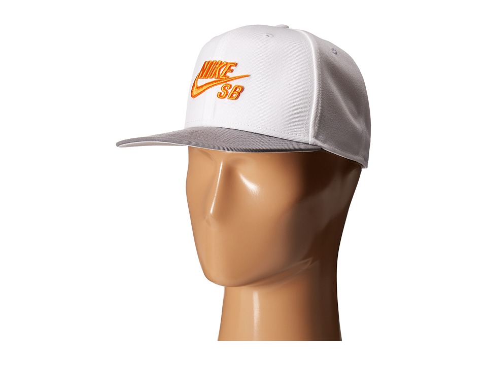 Nike SB - Icon Snapback (White/Dark Steel Grey/Bright Mandarin) Caps
