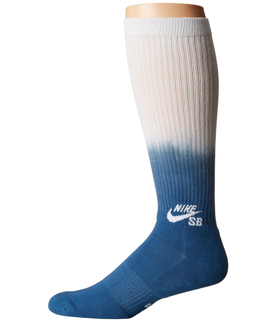 Nike SB - Fade Graphic Crew Sock (Industrial Blue/White/White) Crew Cut Socks Shoes