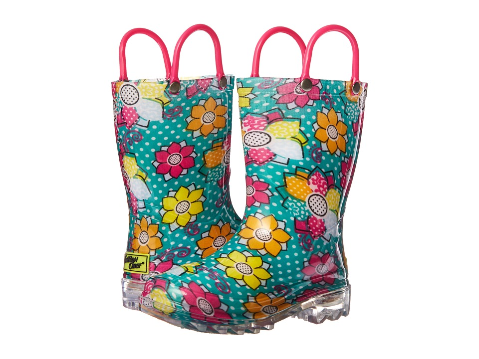 Western Chief Kids - Annabelle Lighted Rain Boot (Toddler/Little Kid) (Aqua) Girls Shoes