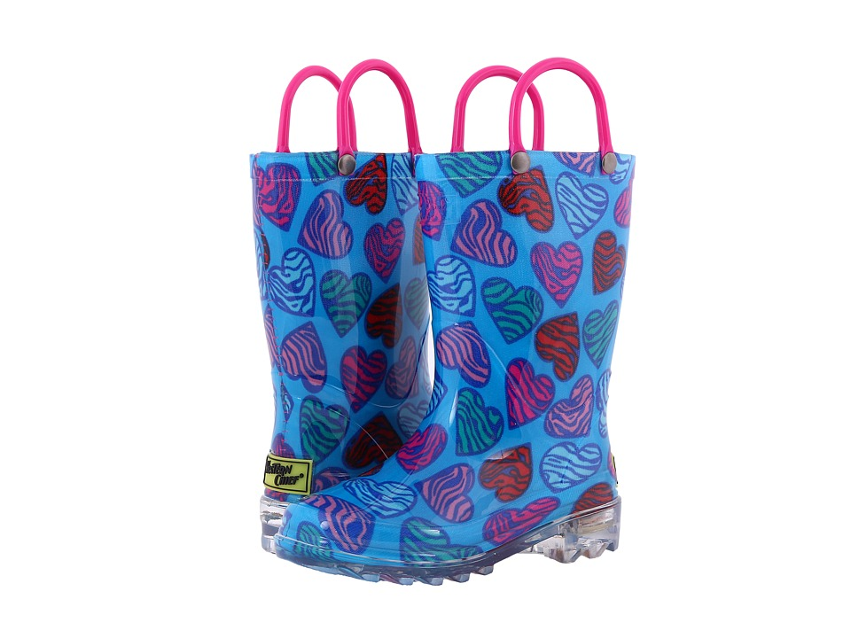 Western Chief Kids - Wild Hearts Lighted Rain Boot (Toddler/Little Kid) (Multi) Girls Shoes