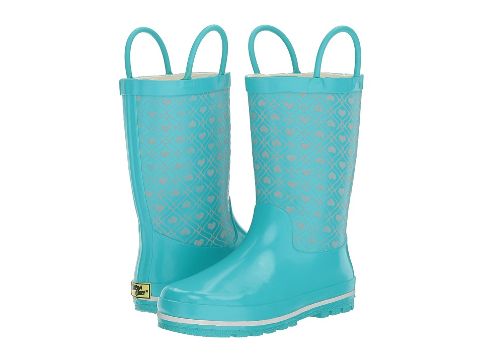 Western Chief Kids - Quilted Hearts Reflective Rain Boot (Toddler/Little Kid/Big Kid) (Aqua) Girls Shoes