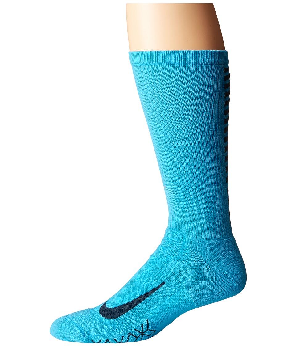Nike Elite Running Cushion Crew Socks (Chlorine Blue/Armory Navy) Crew Cut Socks Shoes