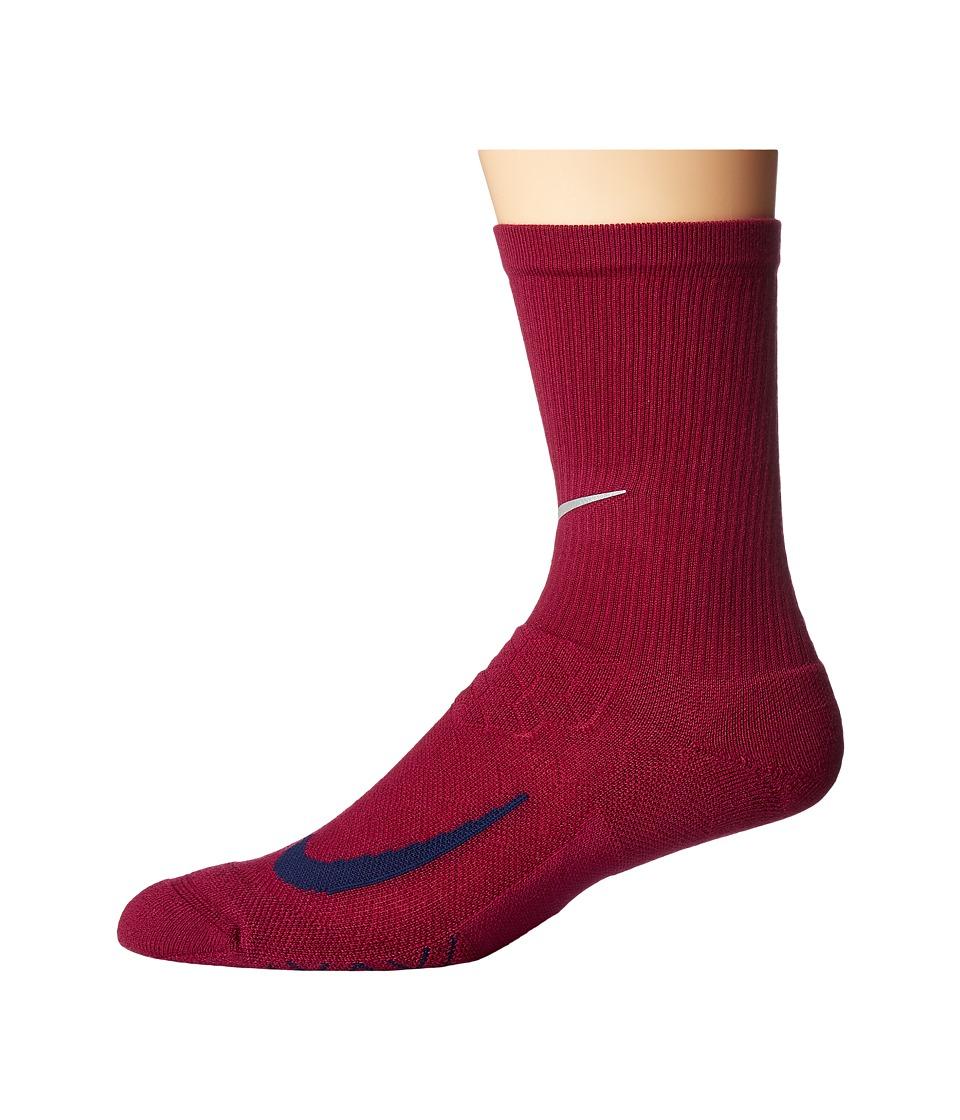 Nike Elite Running Cushion Crew Socks (True Berry/Binary Blue) Crew Cut Socks Shoes