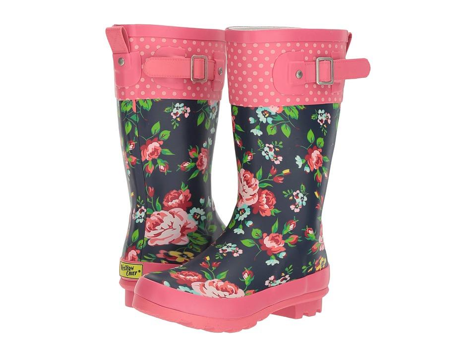 Western Chief Kids Classic Tall Rosie Rain Boot (Little Kid/Big Kid) (Navy) Girls Shoes