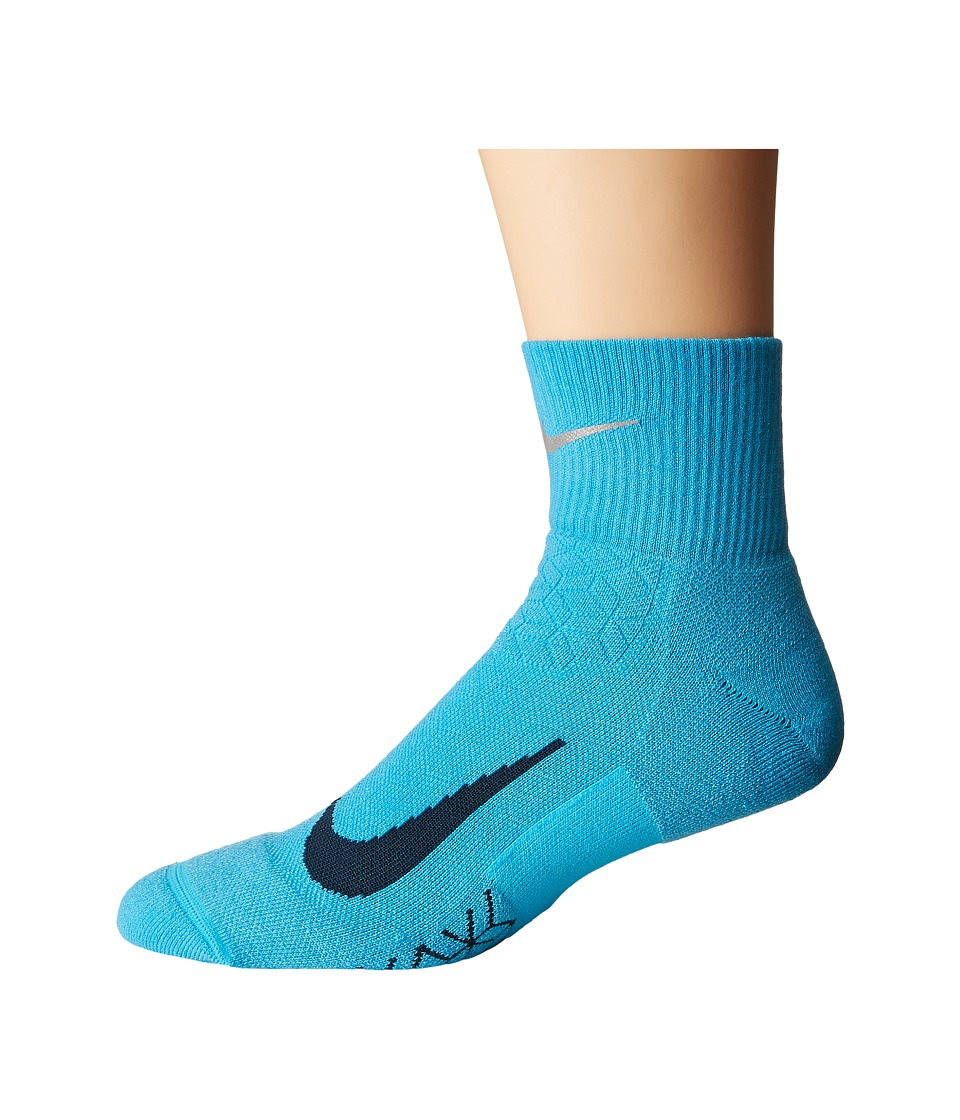 Nike Elite Cushion Quarter Running Socks (Chlorine Blue/Armory Navy) Quarter Length Socks Shoes