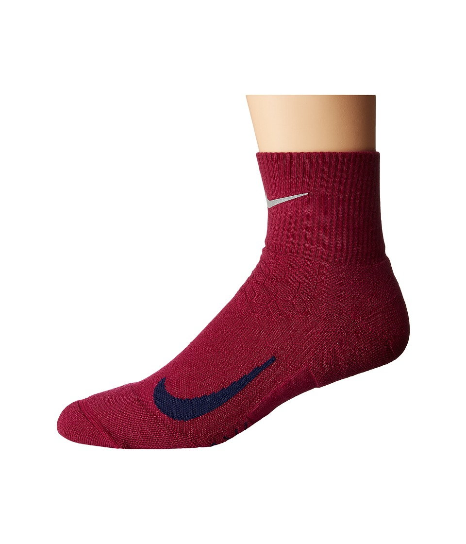 Nike Elite Cushion Quarter Running Socks (True Berry/Binary Blue) Quarter Length Socks Shoes