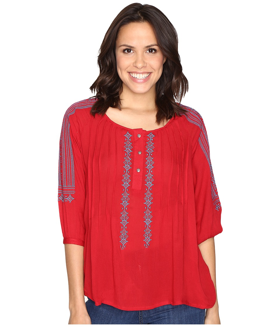 Rock and Roll Cowgirl - 3/4 Sleeve Blouse B4-9103 (Red) Women's Blouse