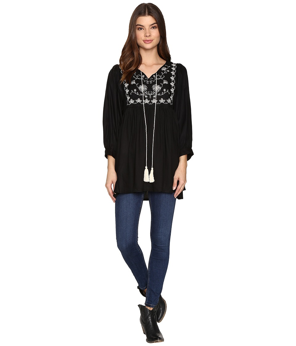 Rock and Roll Cowgirl - Long Sleeve Tunic B4-9655 (Black) Women's Clothing