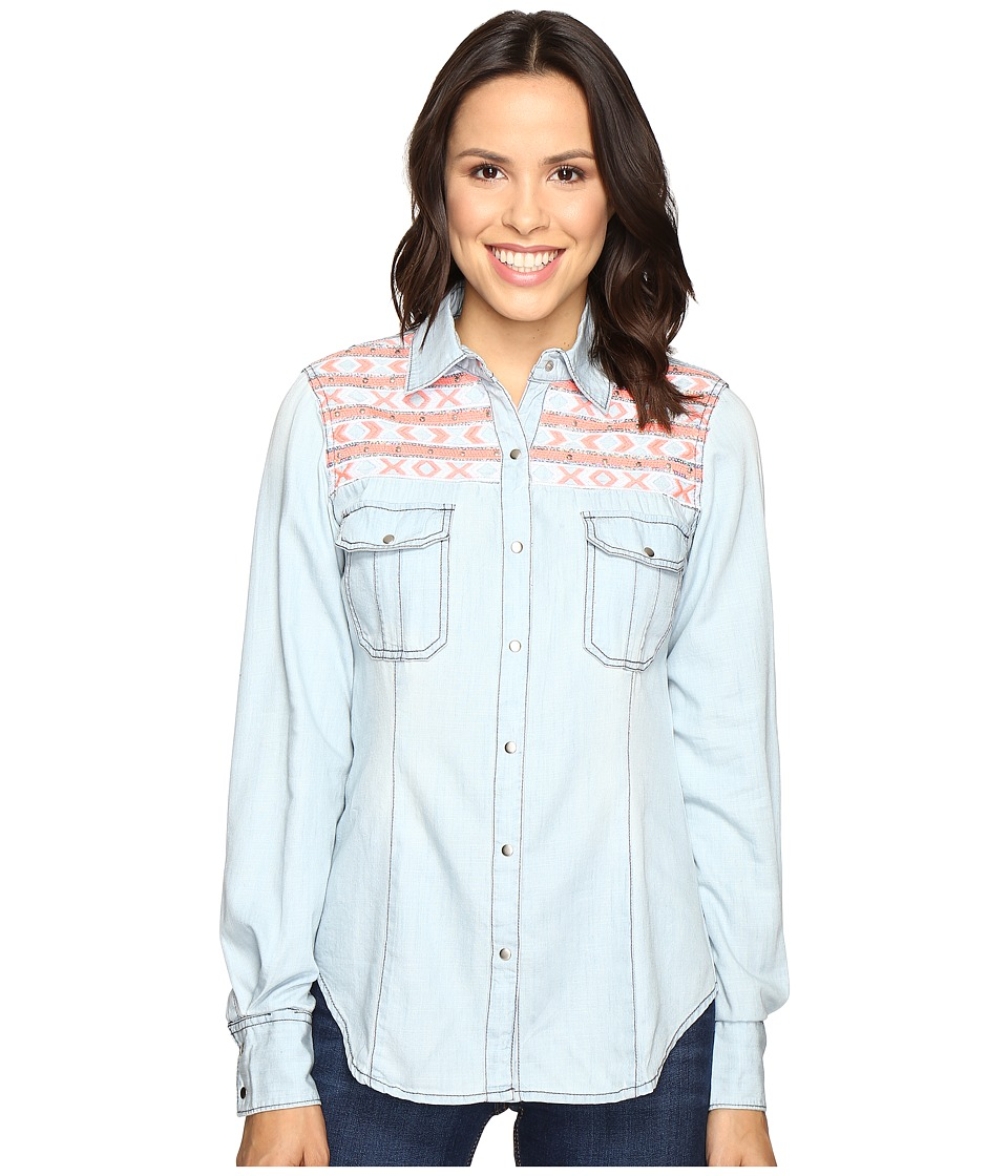 Rock and Roll Cowgirl - Long Sleeve Snap B4S7301 (Blue) Women's Clothing