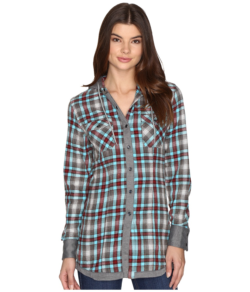 Rock and Roll Cowgirl - Long Sleeve Snap B4S9120 (Turquoise) Women's Clothing