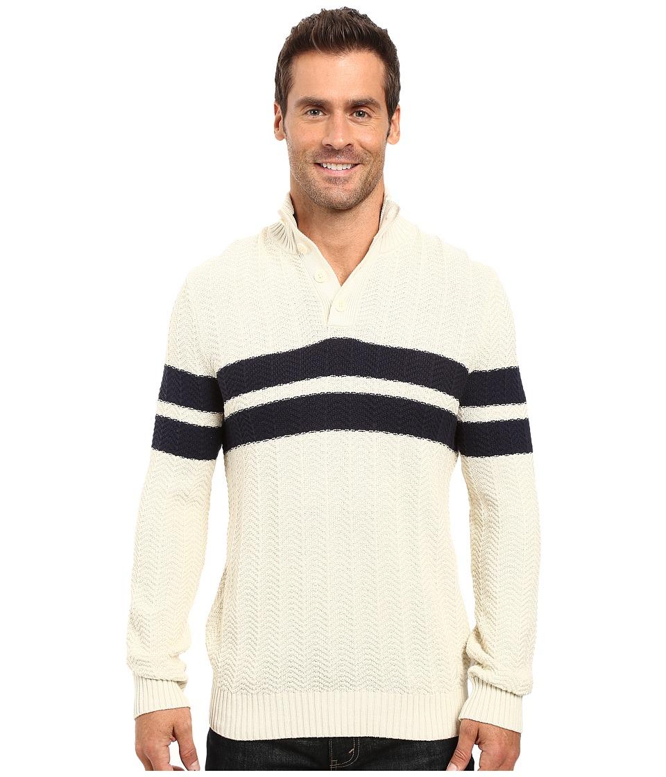Nautica - 9 Gauge Chevron Striped Mock Neck Sweater (Bone White) Men's Sweater