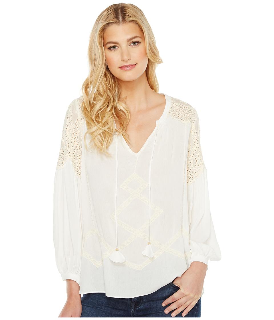 Hale Bob - Natural Ground Crinkle Rayon Gauze Long Sleeve Top (Ivory) Women's Clothing