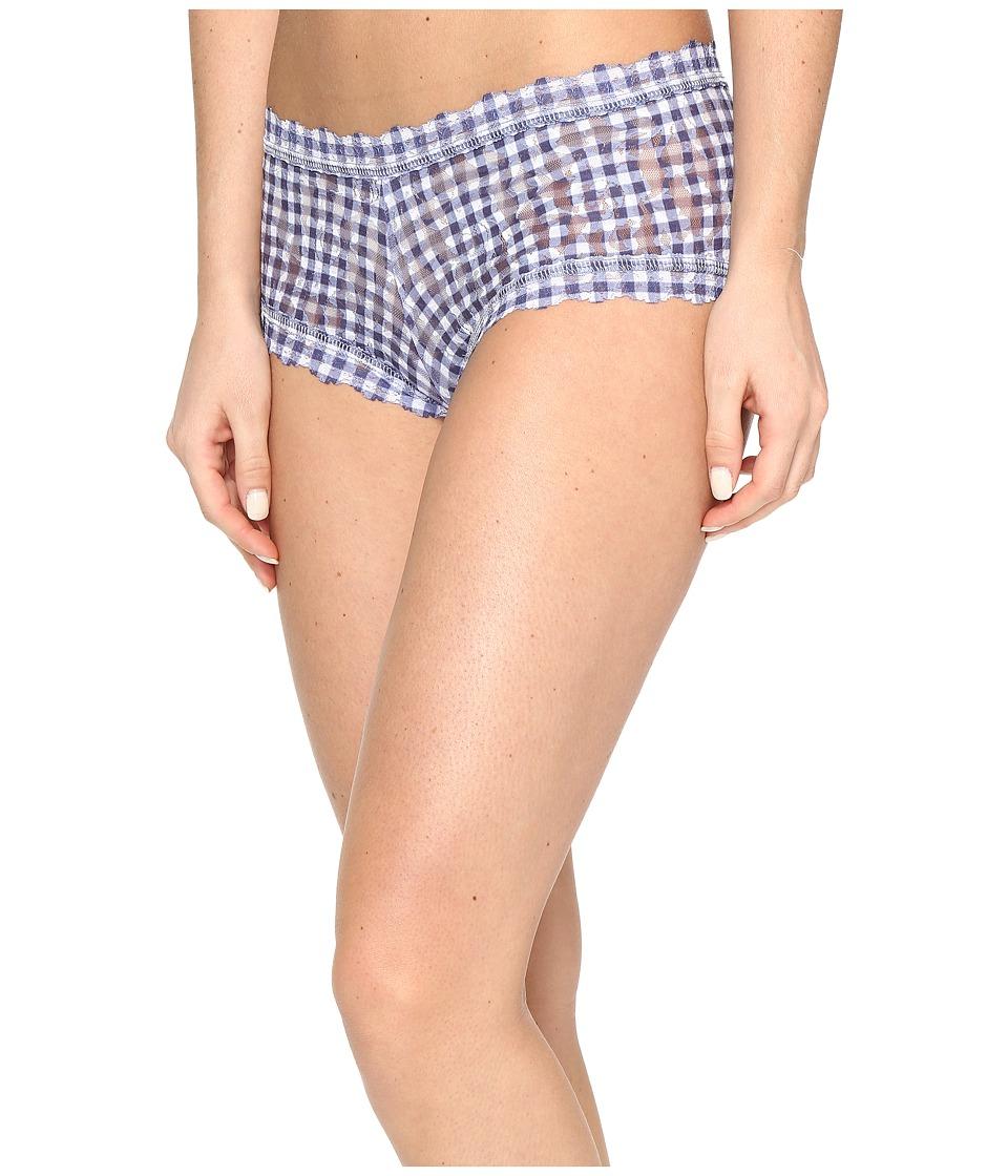 Hanky Panky - Check Please Boyshorts (Navy/White) Women's Underwear