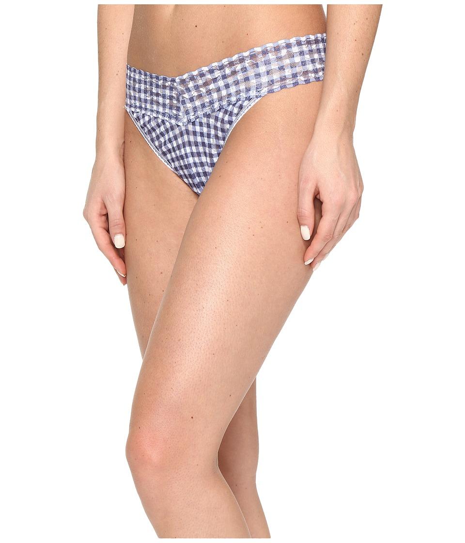 Hanky Panky - Check Please Original Rise Thong (Navy/White) Women's Underwear