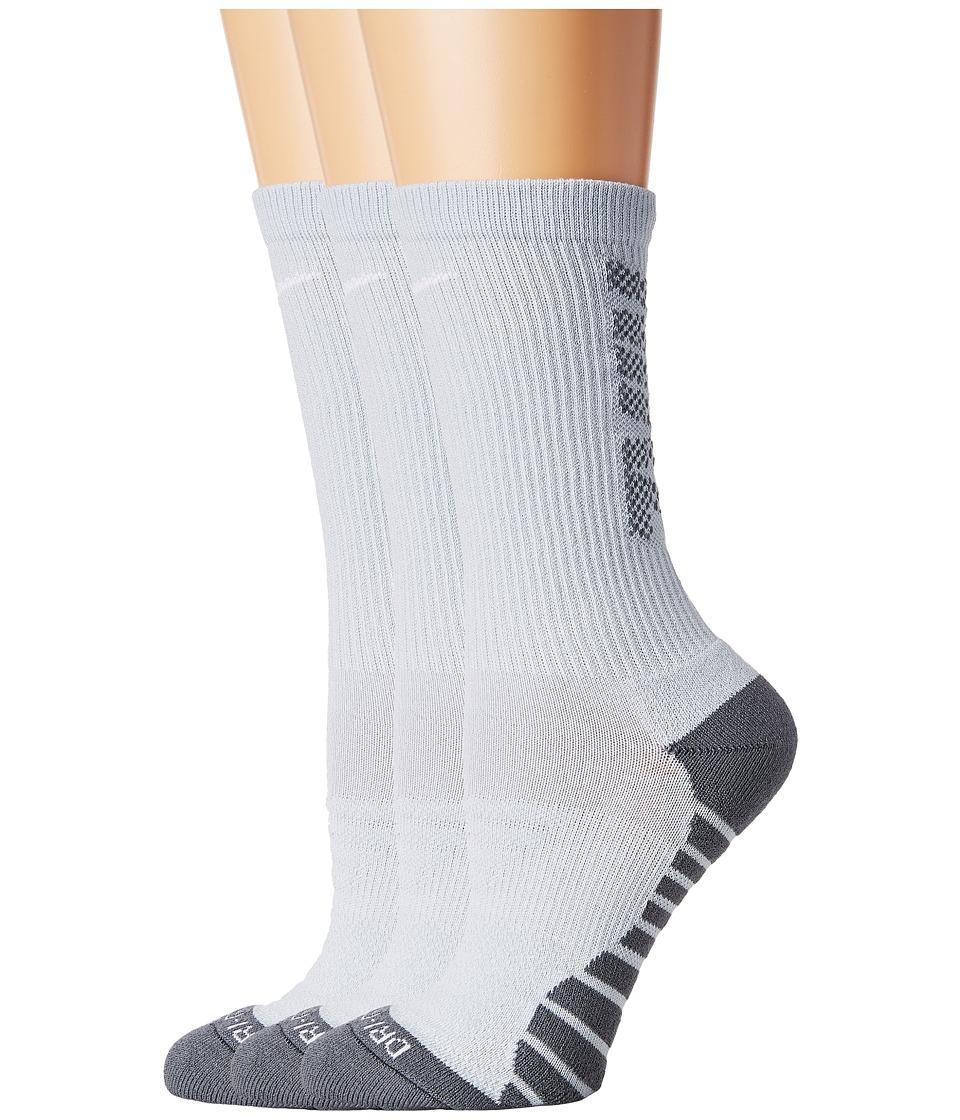 Nike Dry Cushion Crew Training Socks 3-Pair Pack (Pure Platinum/Wolf Grey/White) Women