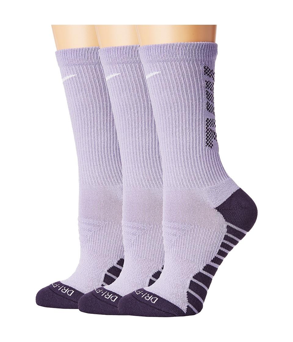 Nike Dry Cushion Crew Training Socks 3-Pair Pack (Hydrangeas/Dark Raisin/White) Women