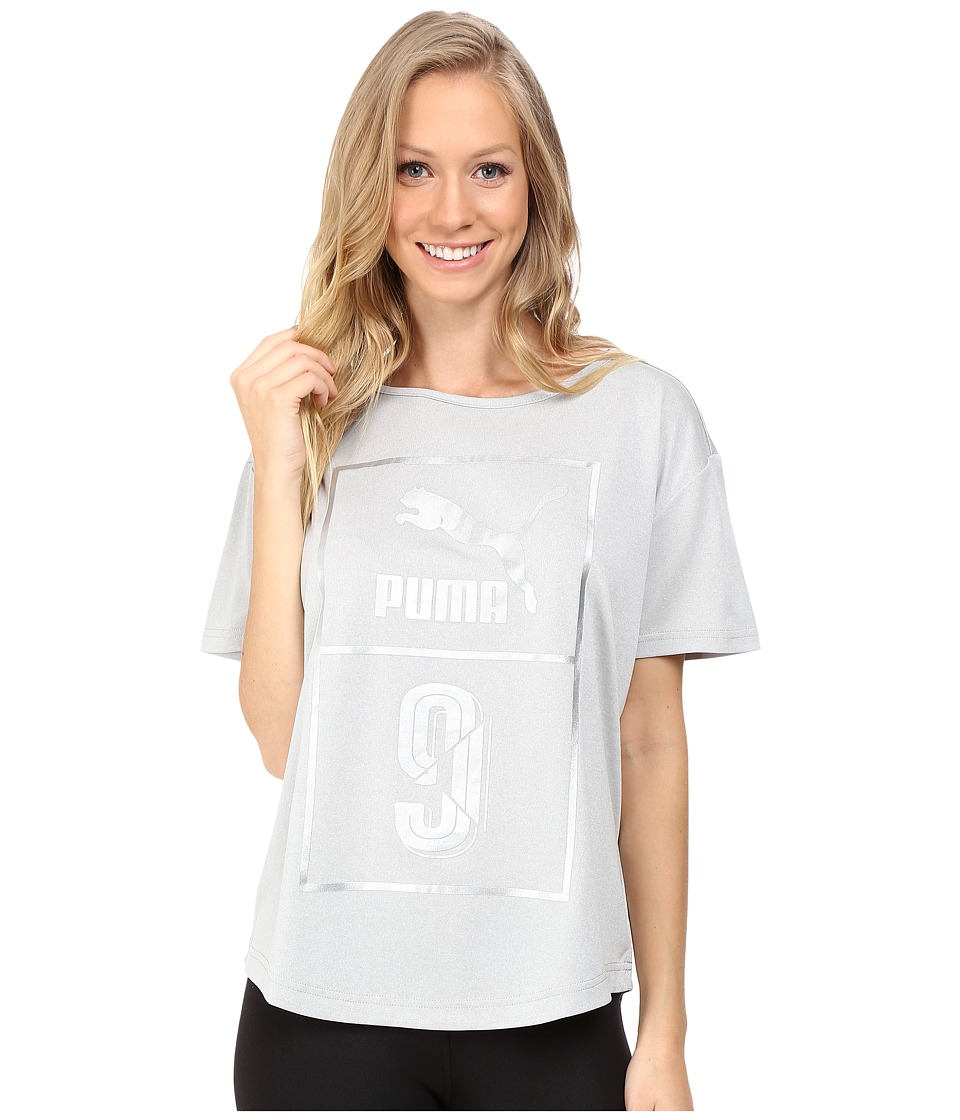 PUMA - Short Sleeve Top (Light Gray Heather) Women's Short Sleeve Pullover