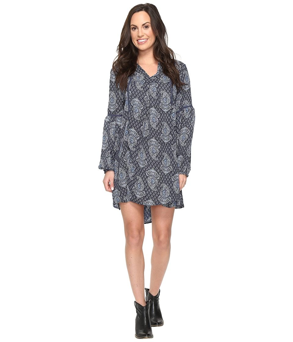 Rock and Roll Cowgirl - Long Sleeve Dress D4-9583 (Navy) Women's Dress