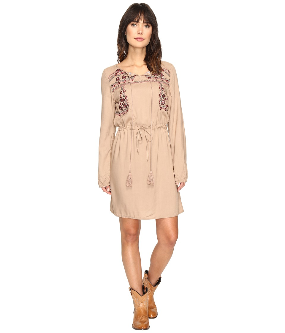 Rock and Roll Cowgirl - Long Sleeve Dress D4-9657 (Tan) Women's Dress