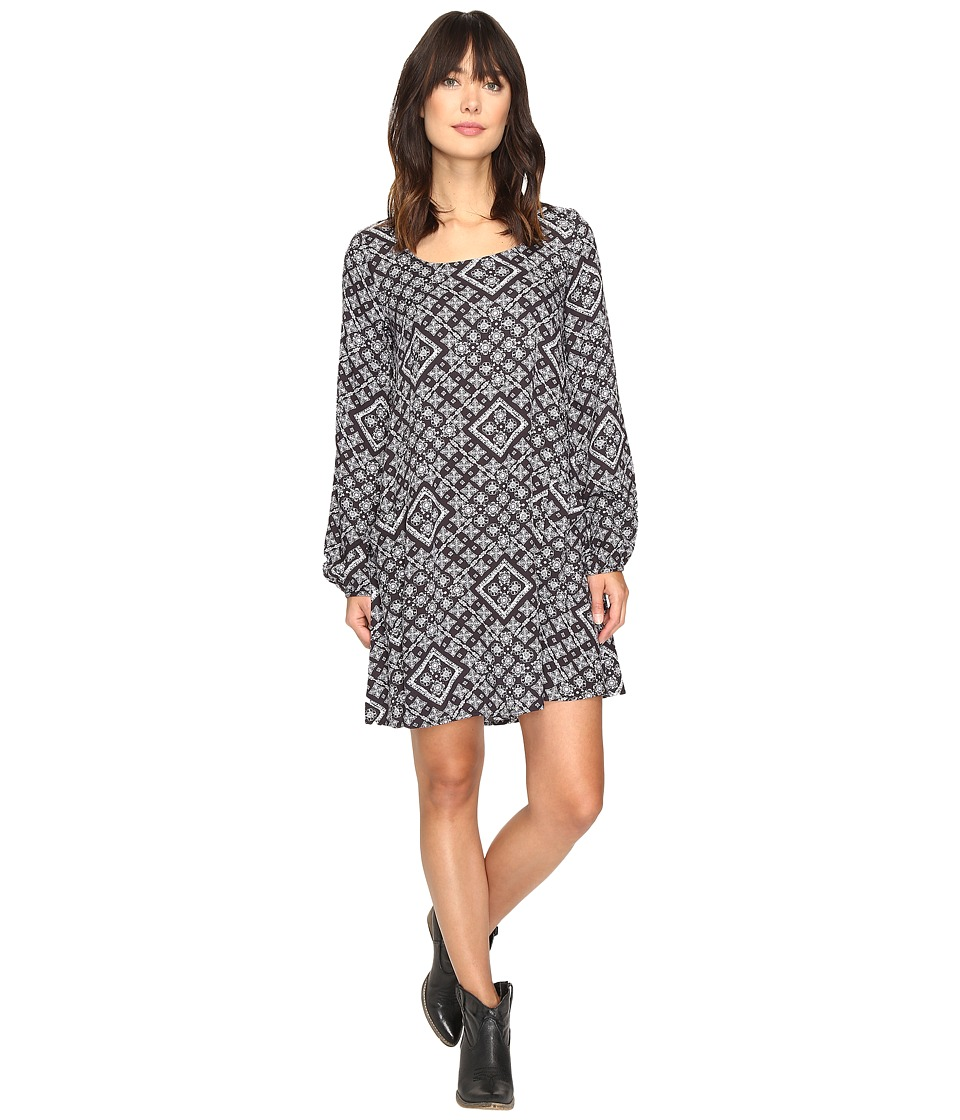Rock and Roll Cowgirl - Long Sleeve Dress D4-9600 (Black) Women's Dress