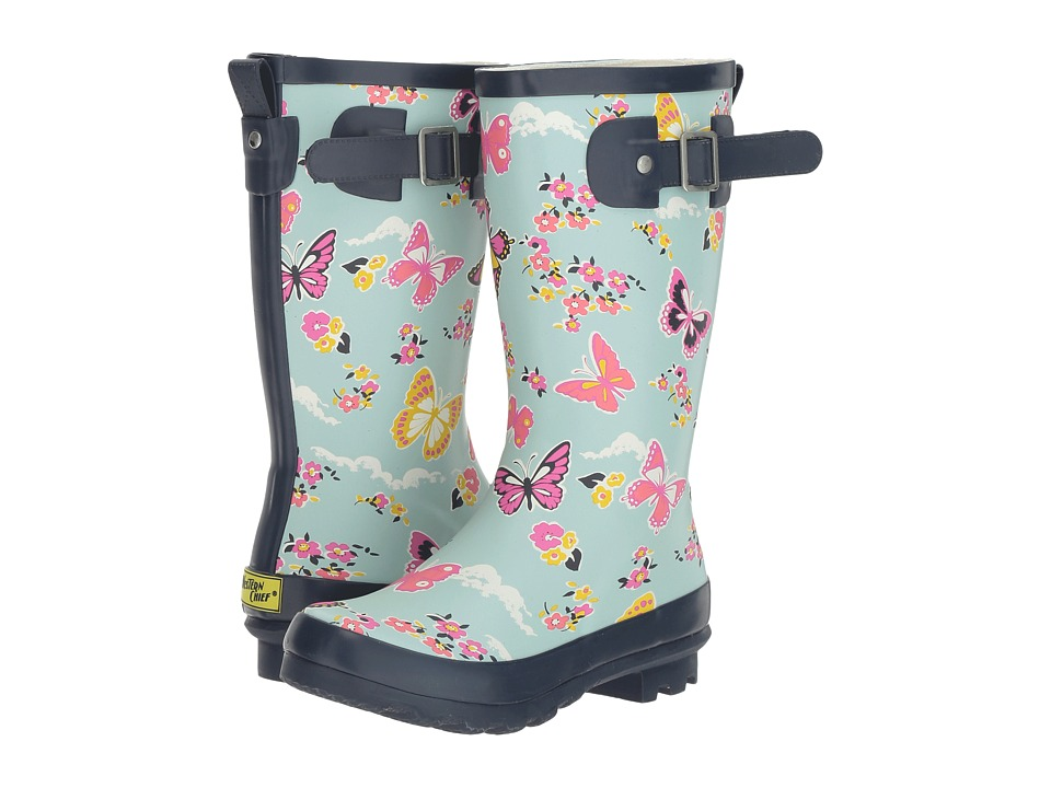 Western Chief Kids - Classic Tall Butterfly Floral Rain Boot (Little Kid/Big Kid) (Sky Blue) Girls Shoes